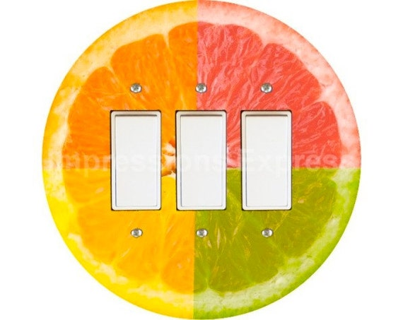 Funky Grapefruit Fruit Triple Decora Rocker Switch Plate Cover