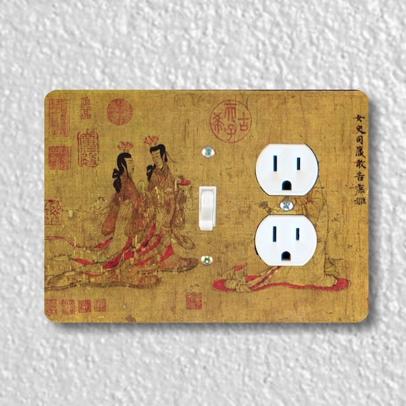 Precision Laser Cut Toggle Switch and Duplex Outlet Double Plate Cover - Admonitions Scroll Chinese Painting - Home Decor - Wall Decor