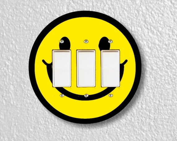 Smiling Face Round Triple Decora Rocker Light Switch Plate Cover
