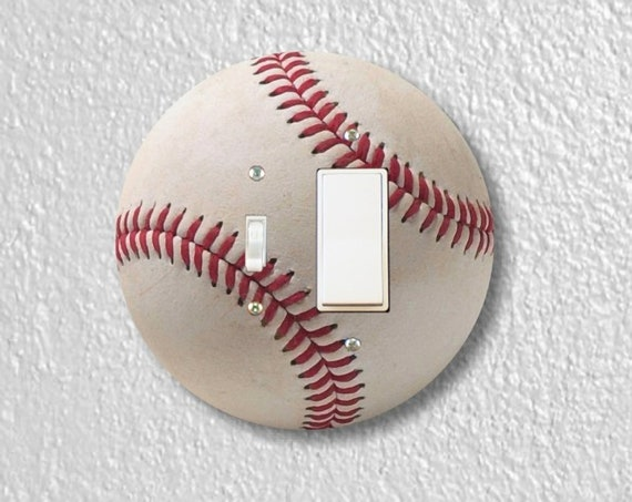 Precision Laser Cut Round Toggle and Decora Rocker Light Switch Plate Cover - White Baseball - Home Decor - Wallplates