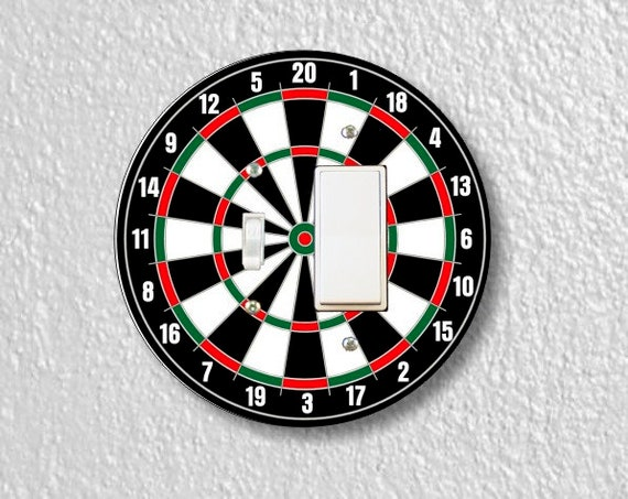 Darts Dartboard Round Toggle and Decora Rocker Light Switch Plate Cover