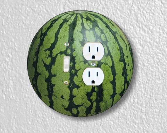 Watermelon Fruit Precision Laser Cut Round Toggle Light Switch and Duplex Outlet Double Wall Plate Cover