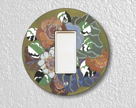 Floral Art Deco Art Nouveau Round Decora Rocker Switch Plate Cover