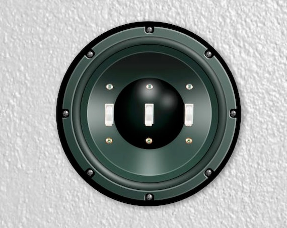 Black Music Loudspeaker Round Triple Toggle Switch Plate Cover