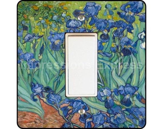 Vincent Van Gogh Irises Painting Square Decora Rocker Light Switch Plate Cover