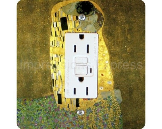 Gustav Klimt The Kiss Square Grounded GFI Outlet Plate Cover