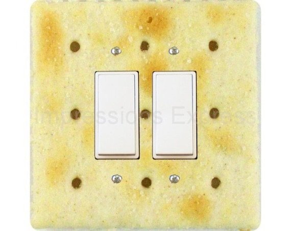 Saltine Cracker Square Double Decora Rocker Light Switch Plate Cover
