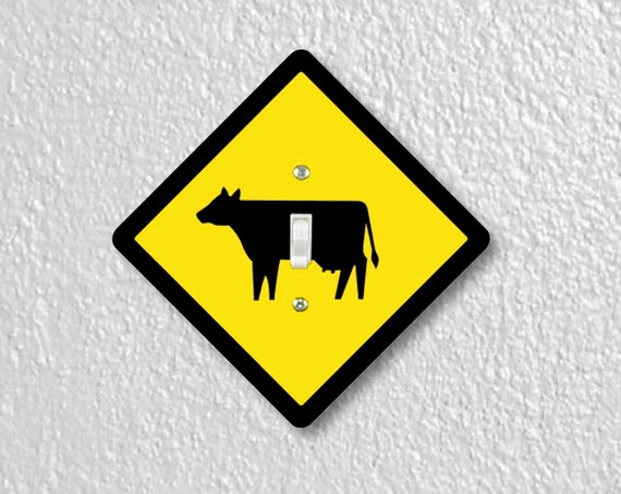 Cattle Crossing Sign Precision Laser Cut Toggle, Decora Rocker Light Switch and Duplex, Grounded GFI Outlet Wall Plate Covers