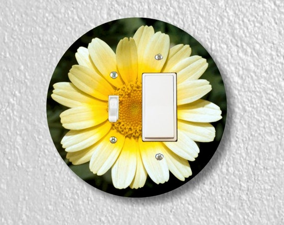 Yellow Daisy Flower - Precision Laser Cut Round Toggle and Decora Rocker Light Switch Plate Cover - Home Decor - Wall Plate