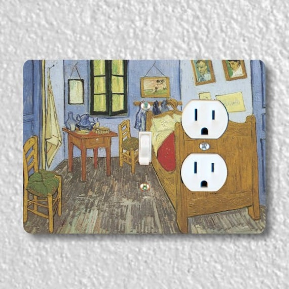 The Bedroom Van Gogh Painting Toggle Light Switch and Duplex Outlet Double Plate Cover