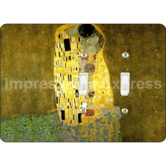 Klimt The Kiss Painting Double Toggle Light Switch Plate Cover