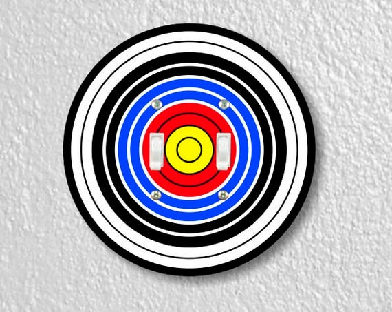 Archery Target Double Toggle Round Light Switch Plate Cover