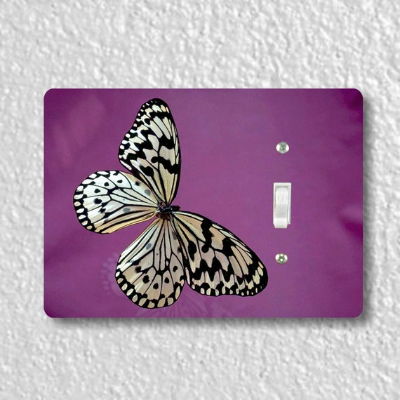 White Butterfly Insect Precision Laser Cut Toggle and Decora Rocker Light Switch Wall Plate Covers