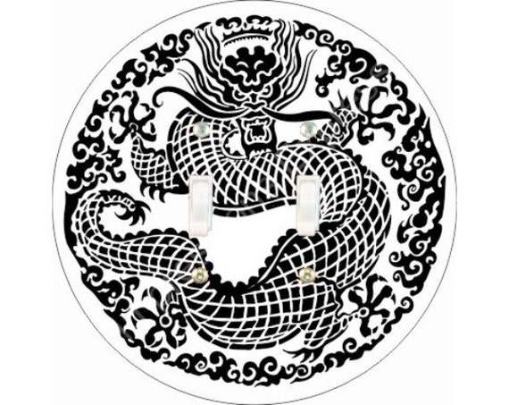 Oriental Dragon Double Toggle Light Switch Plate Cover