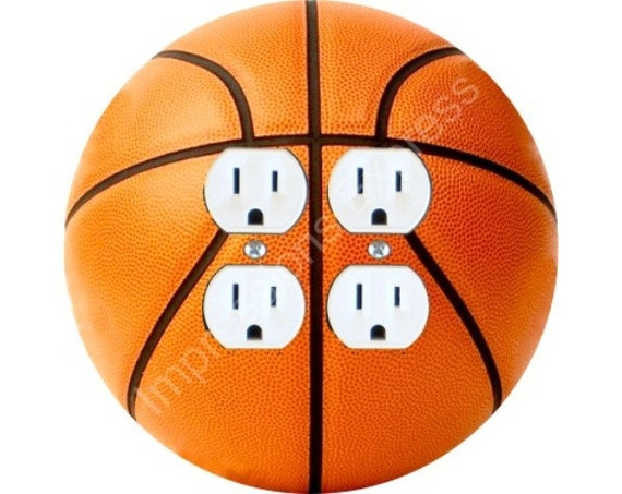 Orange Basketball Double Duplex Outlet Plate Cover
