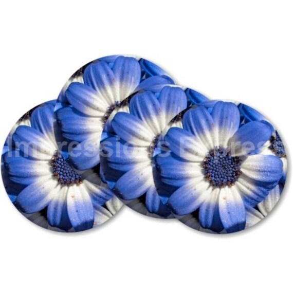 Blue Daisy Flower Coasters - Set of 4