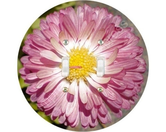 Pink Daisy Flower Double Toggle Switch Plate Cover