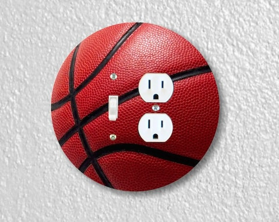 Burgundy Basketball Sport Round Toggle Switch and Duplex Outlet Double Plate Cover