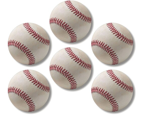 Glossy White Baseball Round Cork Backed Coasters (Set of 6)