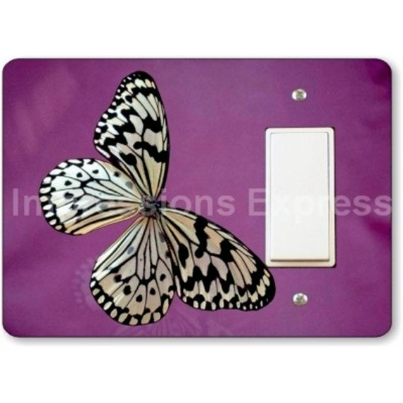White Butterfly Insect Decora Rocker Light Switch Plate Cover