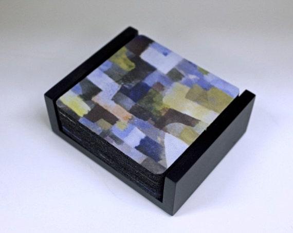 Paul Klee Paintings Coaster Set of 5 with Wood Holder