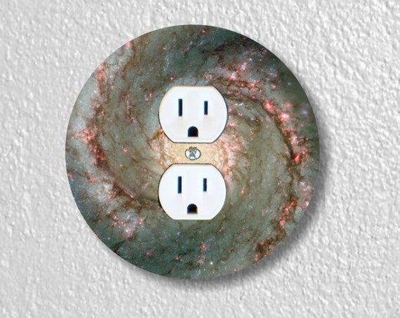 Precision Laser Cut Duplex And Grounded Outlet Round Plate Covers - Whirlpool Galaxy Space - Home Decor - Wall Decor-Wallplate