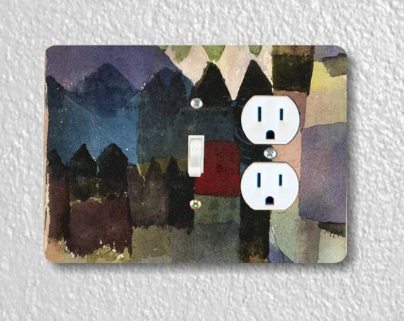 Precision Laser Cut Toggle Switch and Duplex Outlet Double Plate Cover - Föhn in Marc's Garden Paul Klee Painting - Home Decor - Wallplates