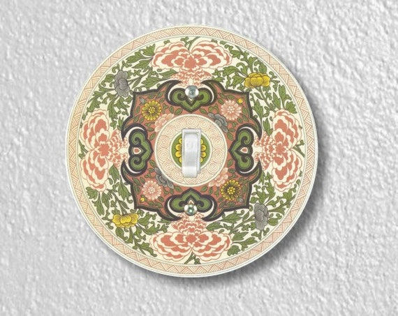 Chinese Ornament Round Single Toggle Light Switch Plate Cover
