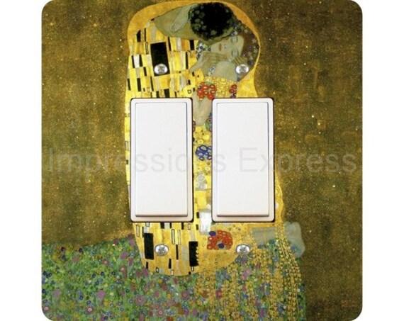 Gustav Klimt The Kiss Square Double Decora Rocker Light Switch Plate Cover