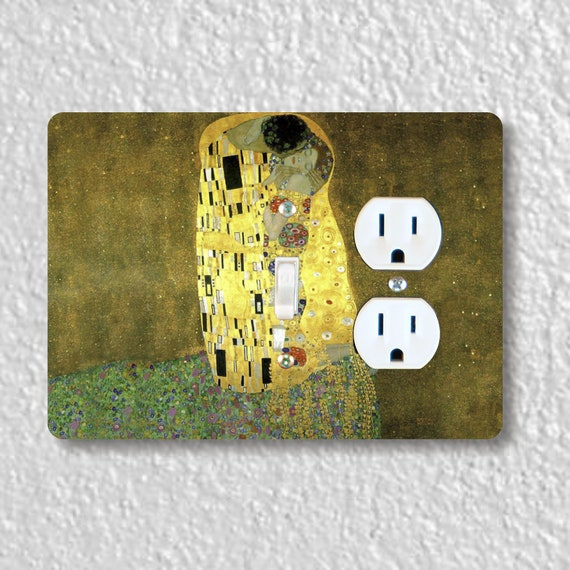 Klimt The Kiss Painting Precision Laser Cut Toggle Switch and Duplex Outlet Double Wall Plate Cover