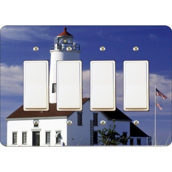 Lighthouse Nautical Quadruple Decora Rocker Light Switch Plate Cover