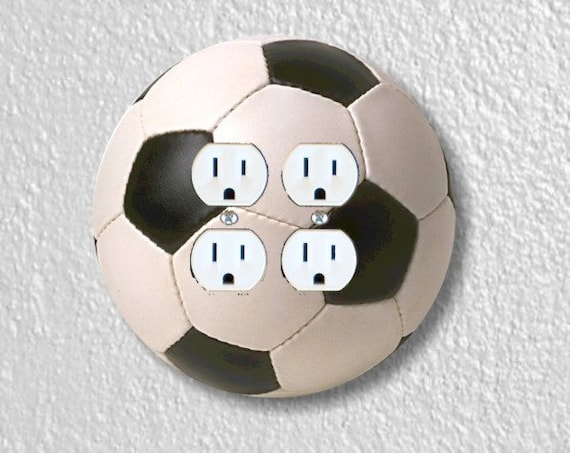 Soccer Sports Ball Round Double Duplex Outlet Plate Cover