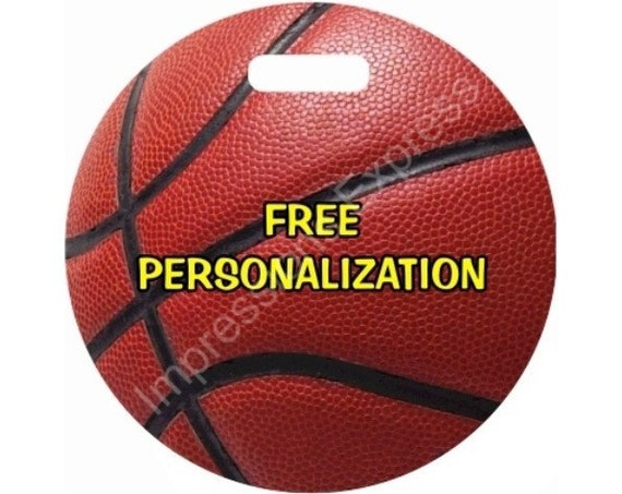 Burgundy Basketball Sports Round Personalized Luggage Bag Tag