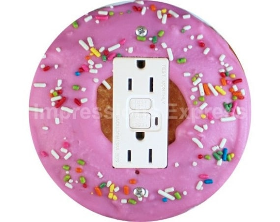 Pink Doughnut GFI Outlet Plate Cover