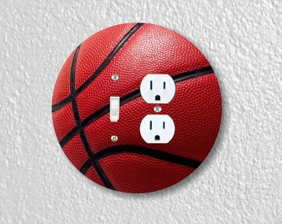 Burgundy Basketball Precision Laser Cut Round Toggle Switch and Duplex Outlet Double Wall Plate Cover