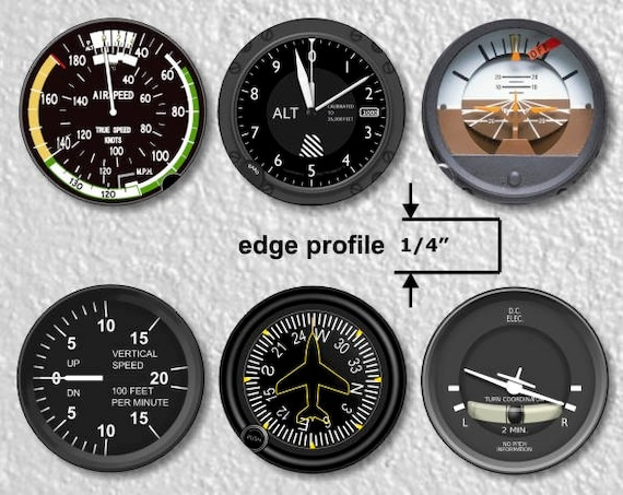 6 Airspeed Indicator Artificial Horizon Altimeter Heading Indicator Vertical Speed Indicator Attitude Indicator Aviation Medium Wall Plaques