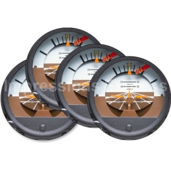 Attitude indicator Aviation Round Coasters - Set of 4