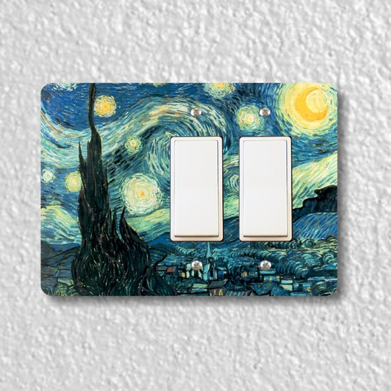 Starry Night Van Gogh Painting Double Decora Rocker Light Switch Plate Cover