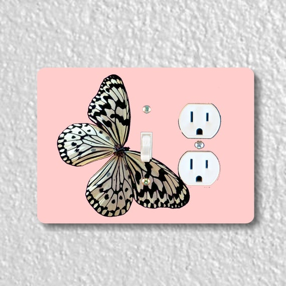 Precision Laser Cut Toggle Switch and Duplex Outlet Double Plate Cover - White Nymph Butterfly Pink - Home Decor - Wallplates
