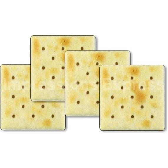 Saltine Cracker Square Coasters - Set of 4