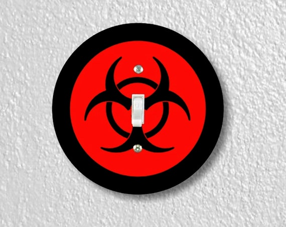 Precision Laser Cut Toggle And Decora Rocker Round Light Switch Plate Covers - Biohazard Sign - Home Decor - Wallplates