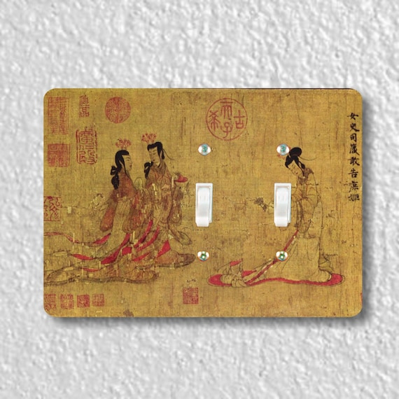 Admonitions Scroll Chinese Painting Double Toggle Light Switch Plate Cover