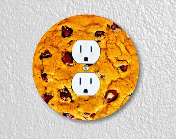 Precision Laser Cut Duplex And Grounded Outlet Round Plate Covers - Chocolate Chip Cookie - Home Decor - Wall Decor - Wallplates