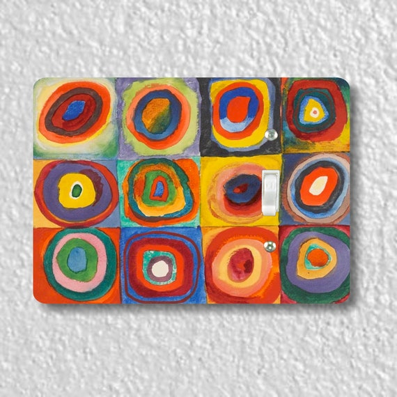 Kandinsky Squares With Concentric Circles Precision Laser Cut Toggle and Decora Rocker Light Switch Wall Plate Covers