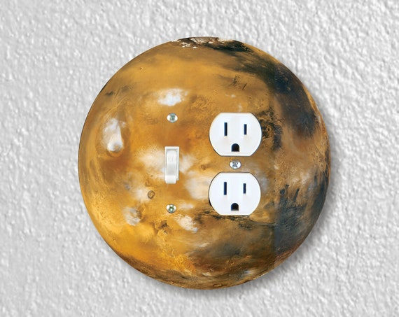 Planet Mars Space Precision Laser Cut Round Toggle Switch and Duplex Outlet Double Wall Plate Cover