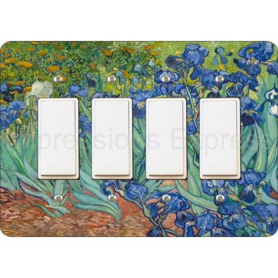 Van Gogh Irises Painting Quadruple Decora Rocker Light Switch Plate Cover