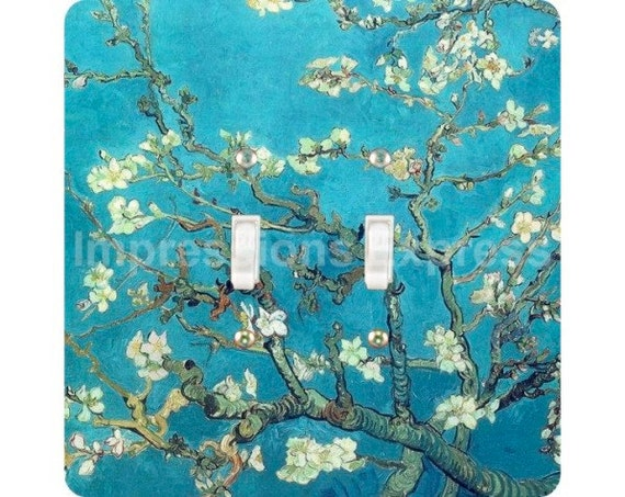 Vincent Van Gogh Almond Branches Painting Square Double Toggle Light Switch Plate Cover
