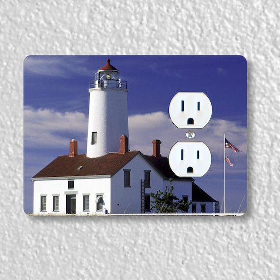 Precision Laser Cut Duplex And Grounded Outlet Plate Covers - Lighthouse Nautical - Home Decor - Wall Decor - Wallplates