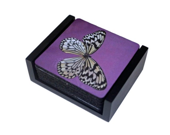 White Butterfly Square Coaster Set of 5 with Wood Holder