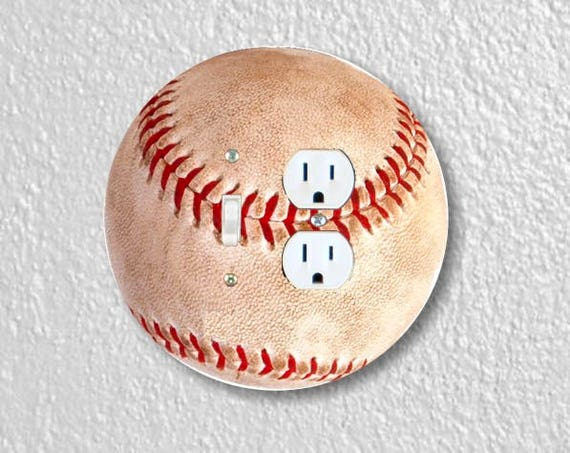 Baseball Ball Sport Round Toggle Switch and Duplex Outlet Double Plate Cover